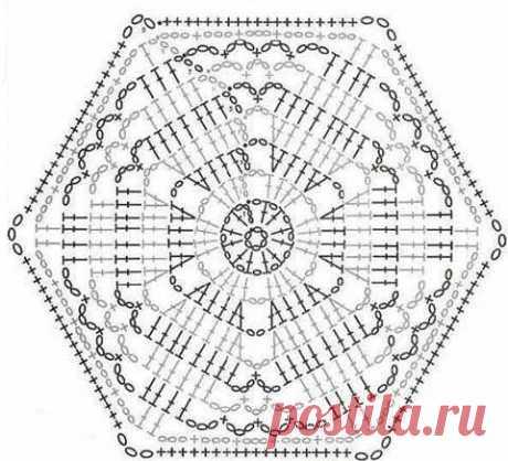 Los motivos hexagonales por el gancho con los esquemas