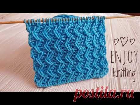 КРАСИВЫЙ Узор спицами ЗИГЗАГ из вытянутых петель  /Zig Zag Loop knitting stitch