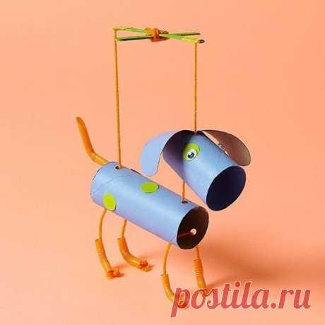 «Марионетка-собачка из картонных втулок от туалетной бумаги» — карточка пользователя Павел П. в Яндекс.Коллекциях