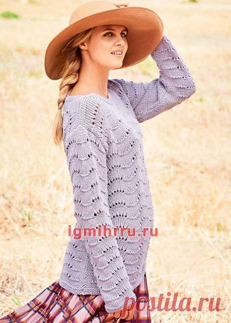 Сиреневый хлопковый пуловер с «павлиньим» узором. Вязание спицами со схемами и описанием