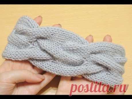 Объемная повязка на голову спицами. // Knitting headband