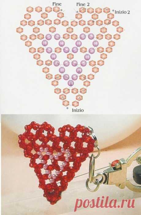Брелок сердечком из бисера схема