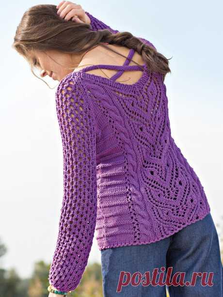 Ажурный пуловер со жгутами на спинке - схема вязания спицами. Вяжем Пуловеры на Verena.ru