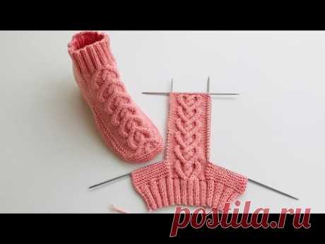 Yeni model patik yapılışı  burgulu kalp bay bayan bot patik yapılışı/ knitting socks crochet easy