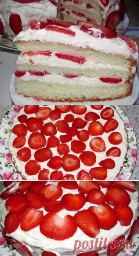 Клубничный торт - домашний рецепт от Простоквашино