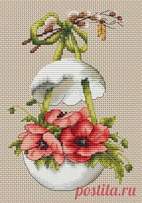Вышивка крестом пасхальное яйцо с анемонами - Клуб вышивки крестом
