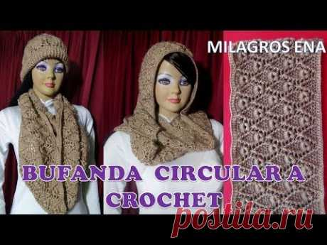 Bufanda Chalina Circular Infinita a crochet en PUNTO HOJITAS  paso a paso en video tutorial - YouTube