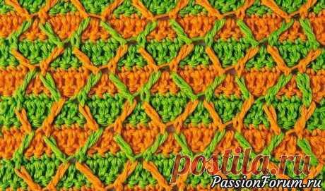 Двухцветный узор с рельефными столбиками | Вязание крючком для начинающих Плотный двухцветный узор с длинными рельефными столбиками, образующими ромбы, очень красив.журнал Маленькая Diana