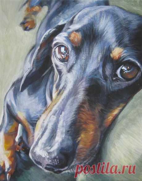 (80) Dachshund art canvas print of dog painting by LA Shepard 11x14 dog portrait