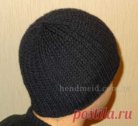 Мужская шапка-резинка вязаная крючком