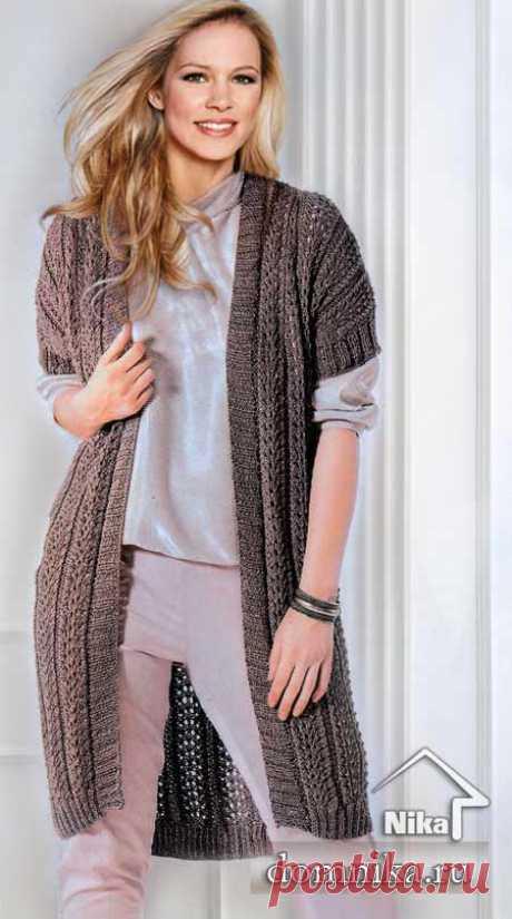 Длинный вязаный жилет - вязание спицами для полных женщин