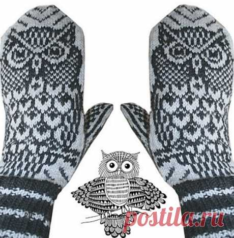Mittens with a pattern the Owl