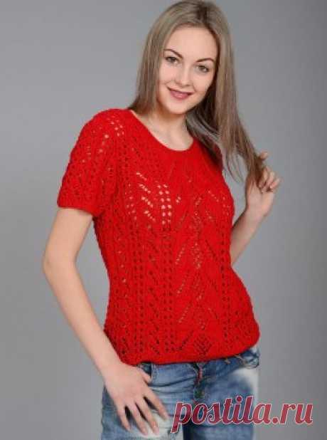 Вязание крючком и спицами - Пуловер ажурными узорами