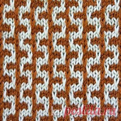 Планета Вязания | Двухцветный узор № 8 в технике ленивого жаккарда. Схема вязания узора спицами.