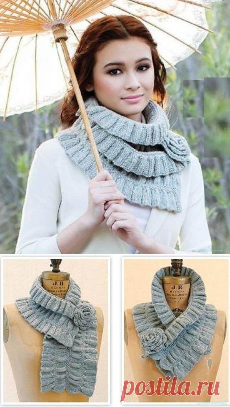 Красивое вязание | Стильный шарф спицами.