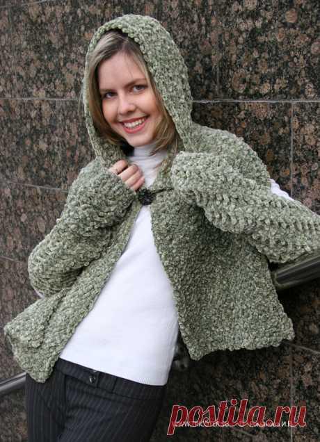 tricoter.su - Спицы - Накидка с капюшоном. Размер 38 – 40. Нарукавники ( длина 43 см. ) (Модель 69)