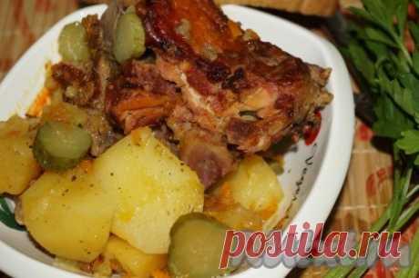 Картошка с копчёными рёбрышками в мультиварке - 7 пошаговых фото в рецепте