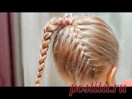 Красивая прическа за 5 минут / Коса снизу, коса сверху соединяющиеся в высоком хвосте косе - YouTube