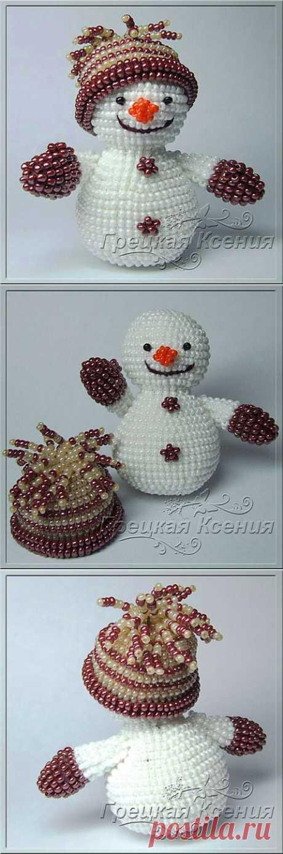 Снеговик Василий | biser.info - всё о бисере и бисерном творчестве