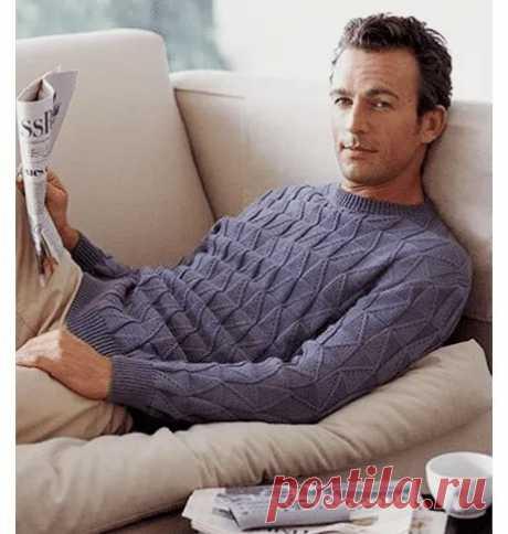 Мужской пуловер Спицы 3.5 Количество петель кратно 11+1 Светлые квадратики-ЛП,темные -ИП