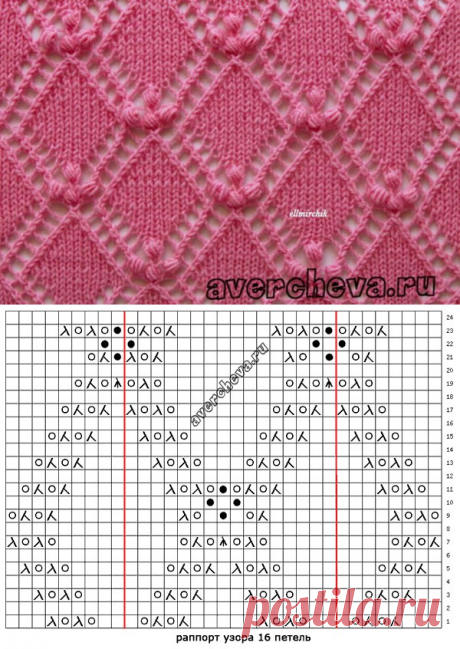 Pattern spokes - openwork rhombuses which looks very gently