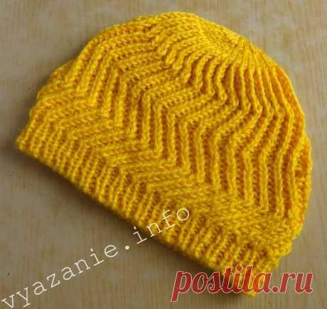 Красивая шапка, связанная спицами - Все о вязании