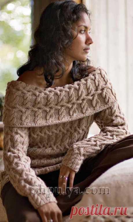 Пуловер с плетеным узором — Shpulya.com - схемы с описанием для вязания спицами и крючком