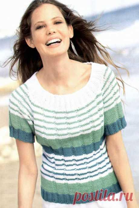 Полосатый пуловер с рукавами реглан