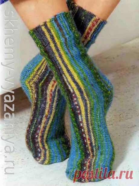 Схема вязания спицами: носки поперечной вязки из секционно окрашенной пряжи