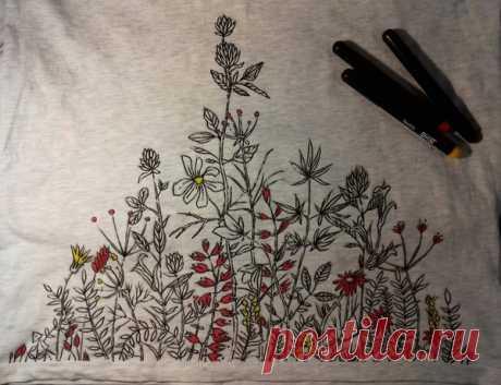 Роспись футболки. | Пикабу