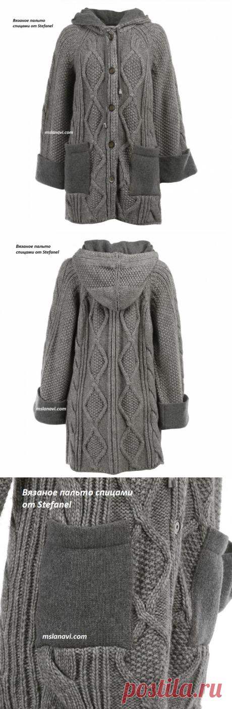 Вязаное пальто спицами от Stefanel   Вяжем с Лана Ви
