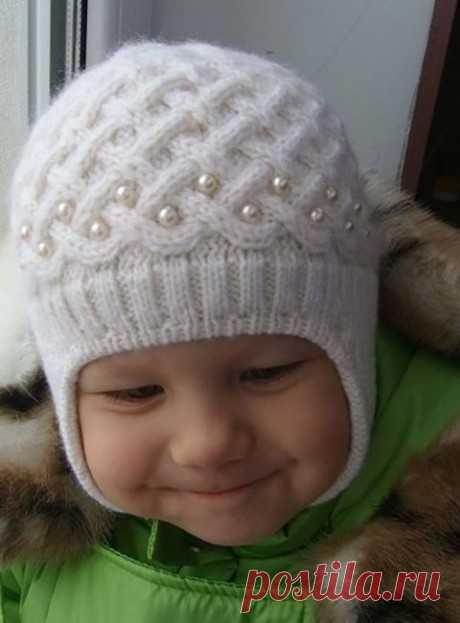 """Hat \""""Pearl winter\"""", Knitting for children"""