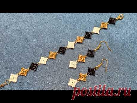 Bead bracelet/Beaded EARRINGS/Diy/Tutorial/Браслет из бисера/Серьги из бисера/Натали Амапола