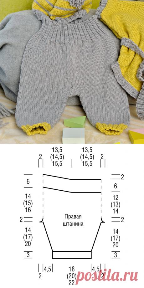 Штанишки для малыша - схема вязания спицами. Вяжем Брюки на Verena.ru
