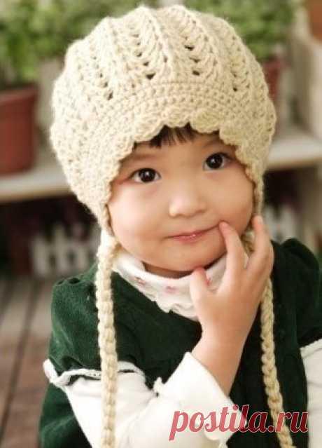 Весенняя шапка крючком для девочки Схема Описание — ПроШапки: Вязаные крючком шапки, панамки, шарфы, шали