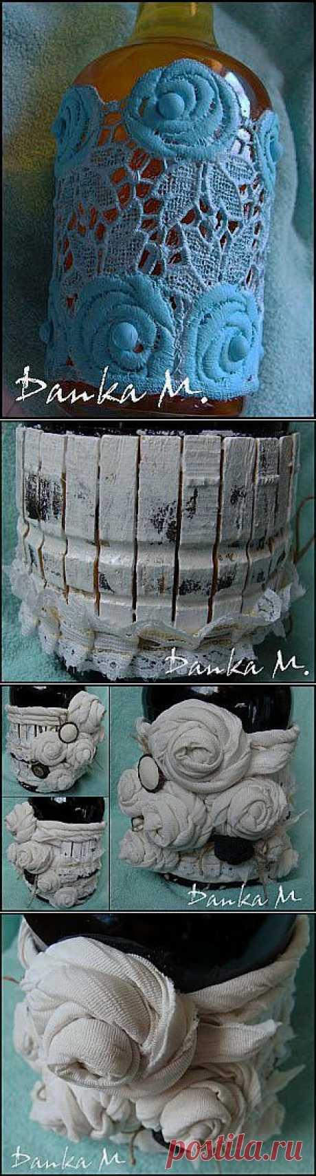 Декорирование бутылок отходами ткани и кружевом