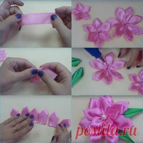 Цветочки канзаши из атласных лент: мастер-класс