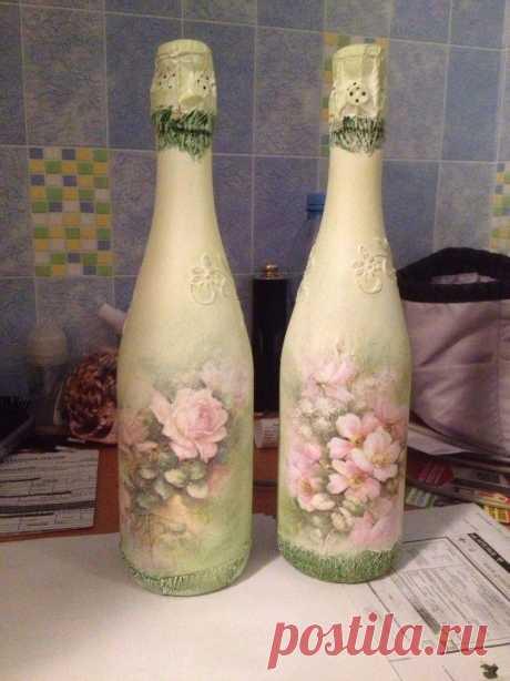 Декупаж бутылки: ТОП-170 фото поделок и лучшие способы оформления бутылки своими руками. Простые инструкции по декупажу для начинающих