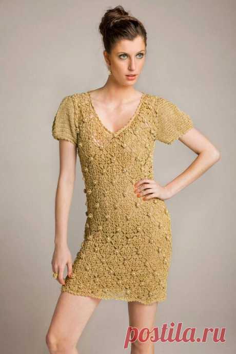 Платье крючком – схемы вязания с видео
