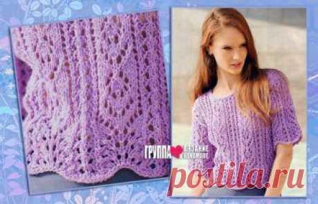 Сиреневый летний пуловер с ажурными узорами