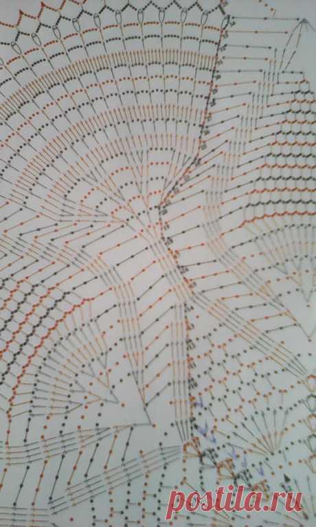 СпрашиваетЮлия Югина: Добрый вечер, помогите разобраться, мама вяжет салфетку. и в схеме есть обозначение воздушных петель просто точками и точками с горизонтальными линиями. возникает вопрос. вяжется как обычная цепочка воздушных или каким то определённым образом? на схеме начинается с 10 ряда. как я понимаю по фото салфетки - просто воздушная цепочка, она сомневается. вяжет подарок.