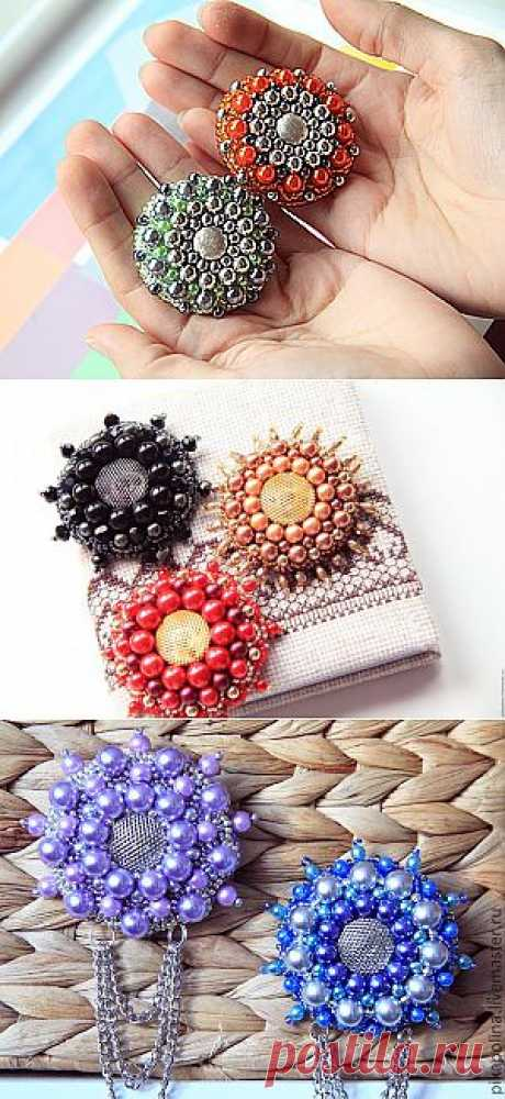 """Photo master class: Brooch """"Солнечная"""" - Embroidery"""