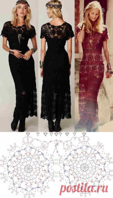 Красивые макси-платья по одному шаблону