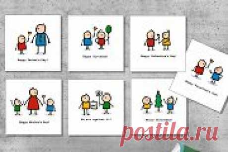 Cartoon doodle people and children,   Creative Market