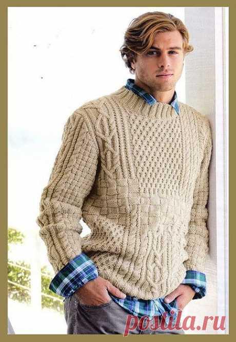 Мужской бежевый пуловер.