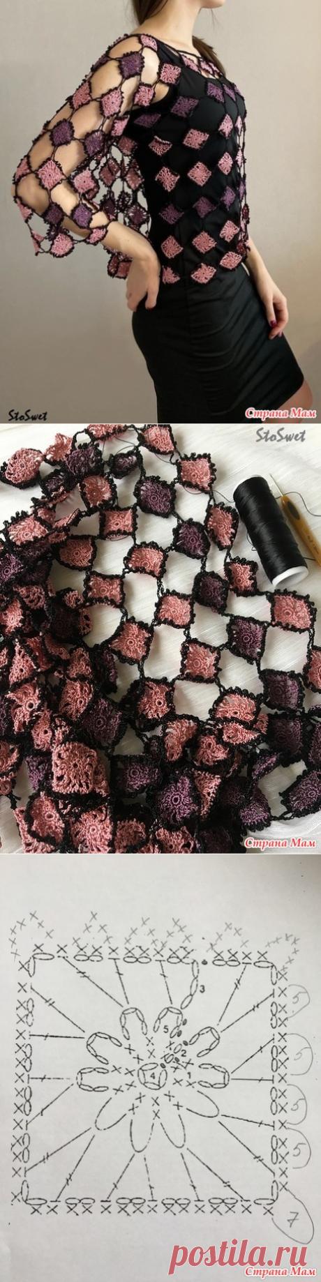 Блуза-накидка крючком из мотивов - Вязание - Страна Мам