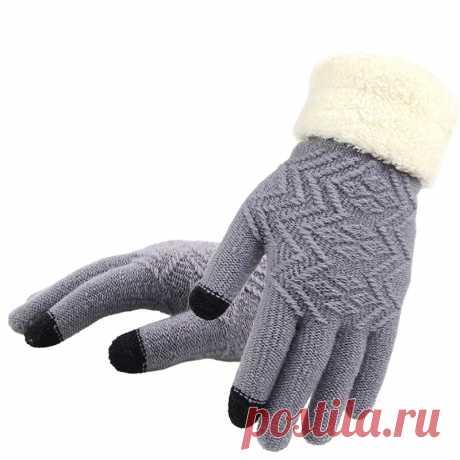 Зимние женские вязаные перчатки, женские перчатки с сенсорным экраном, вязаные плотные теплые мягкие тянущиеся вязаные варежки, женские перчатки  Женские перчатки  