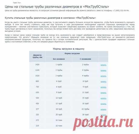 https://www.truba-mts.ru/price-list/  Прайс Лист   Цены на стальные трубы различных диаметров в «МосТрубСталь»   Цены на трубы динамически меняются, по вопросам уточнения данной информации Вы можете связаться с нами по телефону +7 (495) 532-50-94.   Когда в сжатые сроки нужна стальная труба не всегда есть возможность как следует разобраться в представленных на рынке металлопроката предложениях. Что делать? Обращать внимание на то, как компания предлагает свою продукцию.