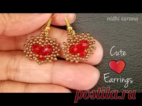 ⚜️Cute ❤️ Earrings || How to make || Crystal & Seed Bead || Aretes Tutorial Diy (0394)