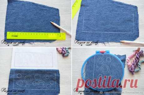 Создаем джинсовый браслет с вышивкой французскими узелками – Ярмарка Мастеров